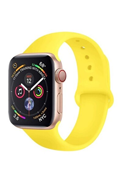 Apple Watch 2 3 4 5 6 Se 38 Mm - 40 Mm Spor Kordon Silikon Kayış Sarı S/m