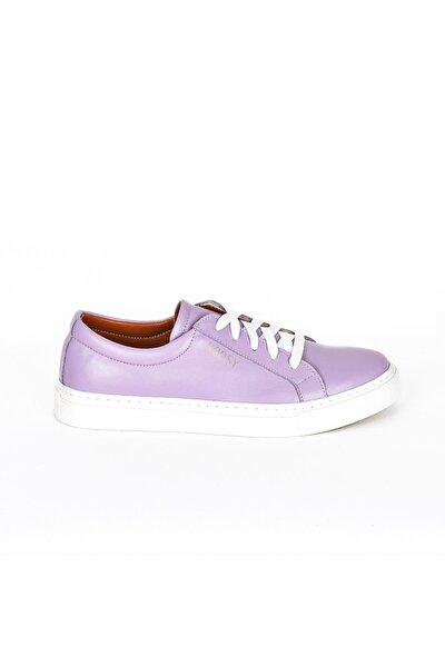 Hakiki Deri Lila Kadın Sneaker
