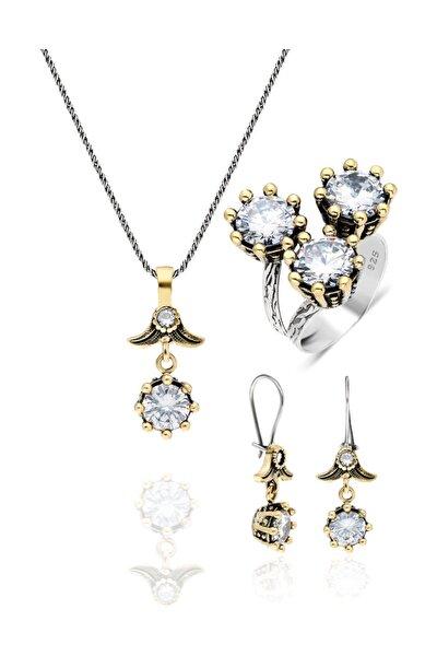 Kadın Zirkon Taşlı Çiçek Modeli Otantik Gümüş Üçlü Set