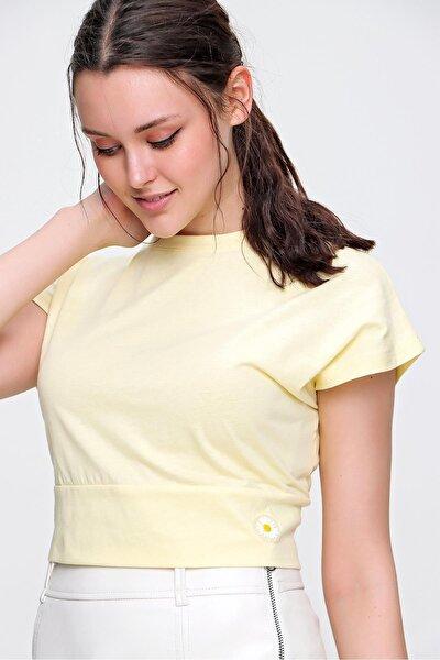 Kadın Sarı Pamuk Beli Bağlamalı Crop Bluz