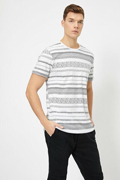 Erkek Beyaz Desenli T-Shirt 0YAM11661CK