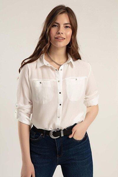 Kadın Kırışık Görünümlü Basic Gömlek Y20s110-3461