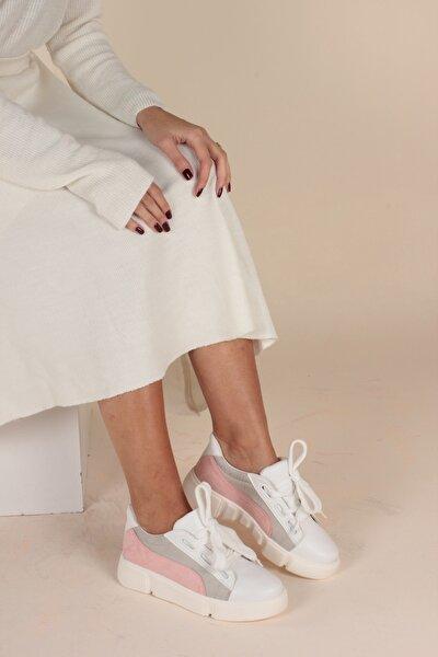 Beyaz Gri Kadın Yürüyüş Ayakkabısı Y901