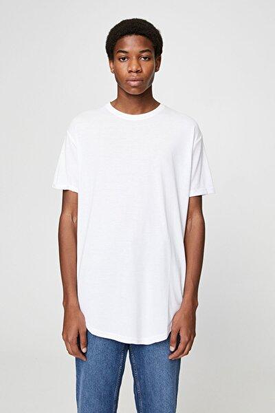 Erkek Beyaz Uzun Basic T-Shirt 05234513