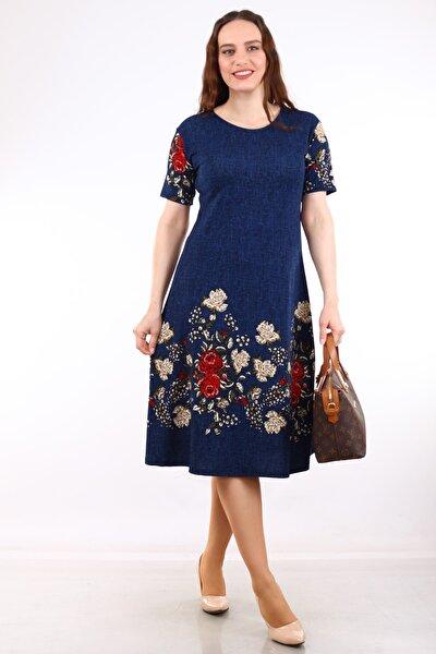 Kadın Lacivert Çiçek Desenli Kısa Kol Krep Elbise MHMT2020-410