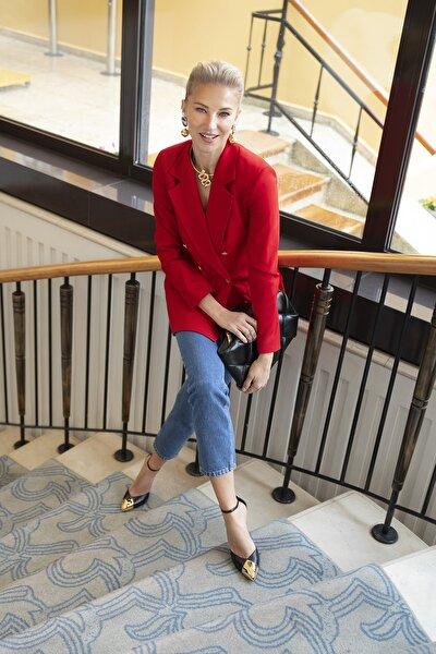 Kırmızı Düğme Detaylı Oversize Blazer Ceket TWOSS20CE0024