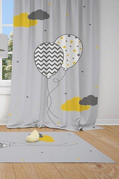 1 Kanat Gri Zemin Desenli Balon Ve Bulutlar Çocuk Bebek Odası Fon Perde