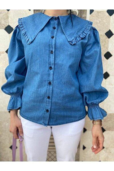 Yaka Ve Kol Fırfır Detaylı Mavi Kot Gömlek