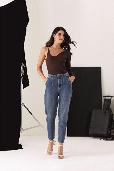 Kadın Mavi Taş Yikamali Cigarette Pantolon