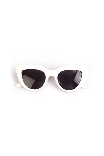 Kalın Çerçeveli Tasarım Cat Eye Beyaz Kadın Güneş Gözlüğü