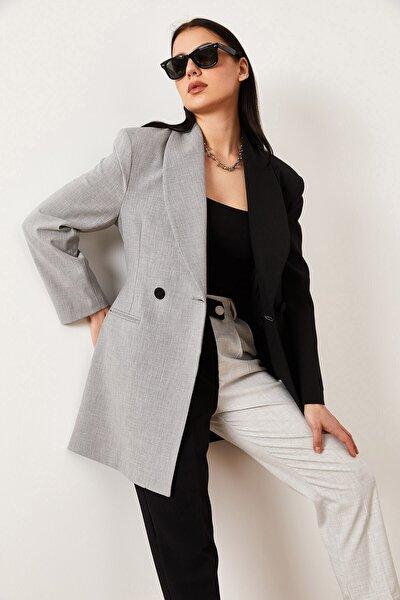 Kadın  Garnili Kruvaze Ceket Siyah/gri
