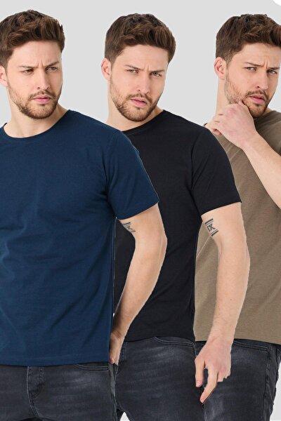Erkek 3'lü Basic Paket Slim Fit T-shirt