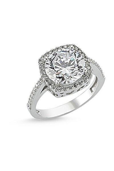 Kadın Tek Taş Kare Gümüş Yüzük Starlight Diamond SY0001