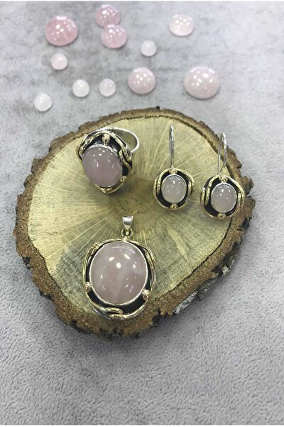 Gümüş Pembe Kuvars Taşlı El Işi Set 925 Ayar