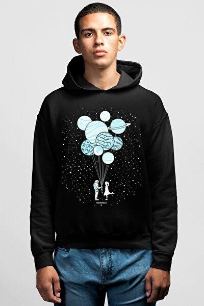 Balon Gezegenler Siyah Kapşonlu Erkek Sweatshirt