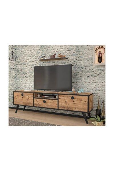 Penta Atlantik Çam Siyah 140 Cm Tv Sehpası
