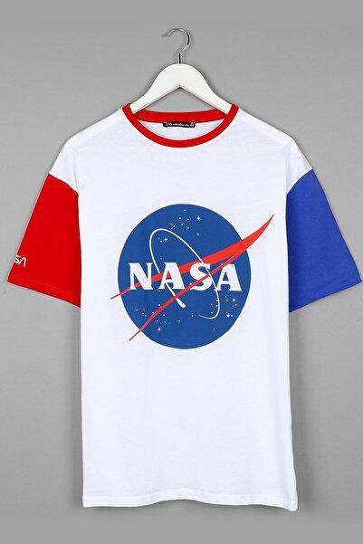 Nasa Baskılı Beyaz Oversize Unisex Tshirt