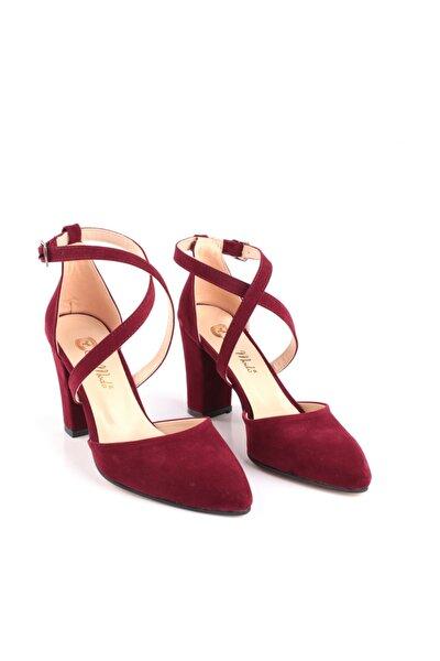 Bilekten Bağlamalı Süet Kare Topuk Kadın Ayakkabı