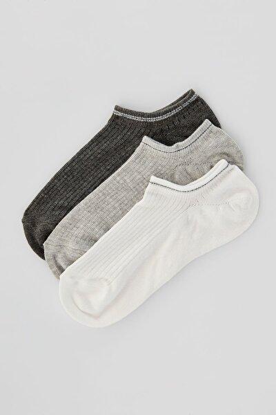 Kadın Gri 3'Lü Bilekte Çorap Paketi 05895325