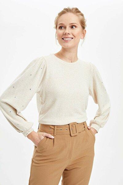 Kadın Bej Balon Kol Uzun Kollu T-Shirt N2918AZ.20SP.BG235