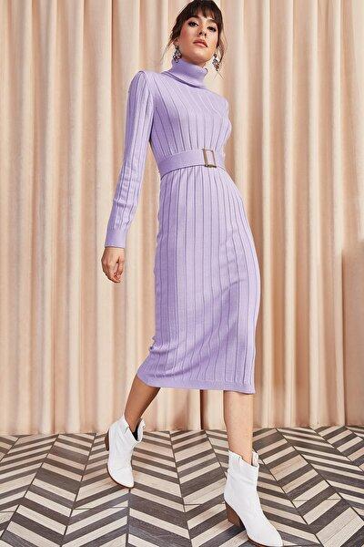 Kadın Lila Kemerli Kalın Fitilli Triko Elbise ELB-19001014