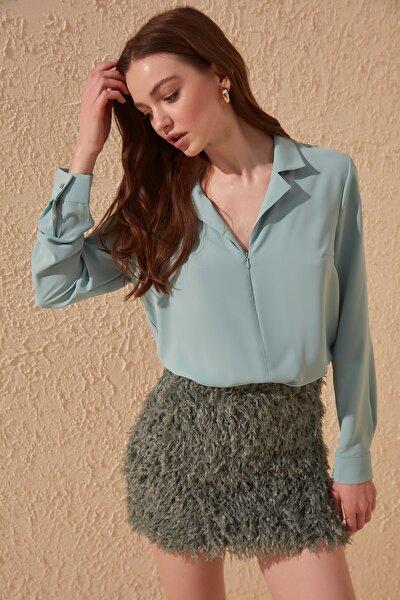 Mint Fermuar Detaylı Bluz TOFAW19BB0406