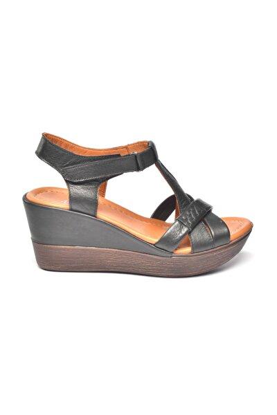 Deri Sandalet Siyah