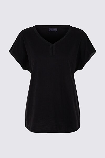 Kadın Siyah Kısa Kollu T-Shirt T41001005H