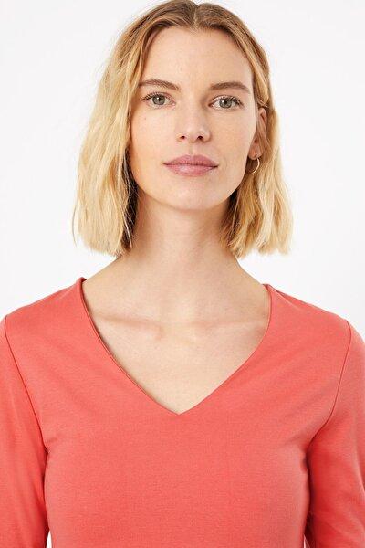 Kadın Pembe V Yaka T-Shirt T41007653
