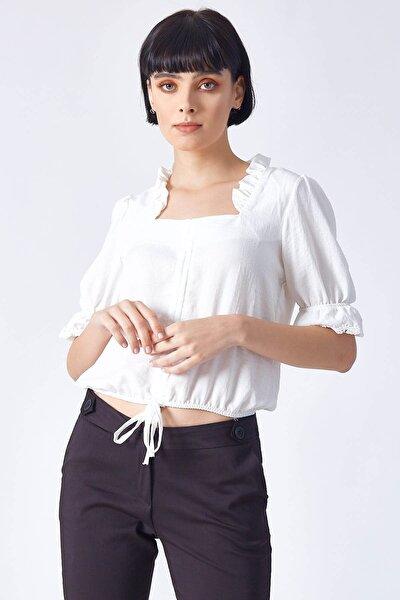 Kadın Büzgü Detaylı Bluz Ekru
