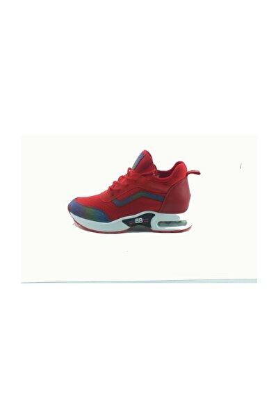 398-2 Dolgu Topuklu Kadın Snekaers Spor Ayakkabı Kırmızı