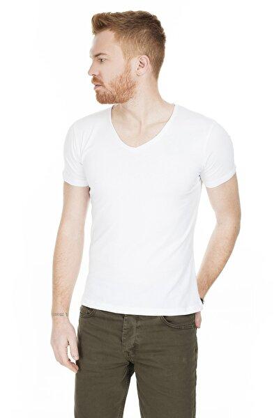 Erkek Beyaz V Yaka Pamuklu Basic T Shirt 54159
