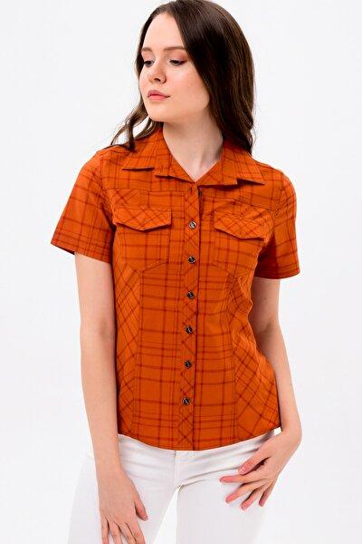 Kadın Kiremit Kiremit Kısa Kol Bayan Gömlek   4250-2-416