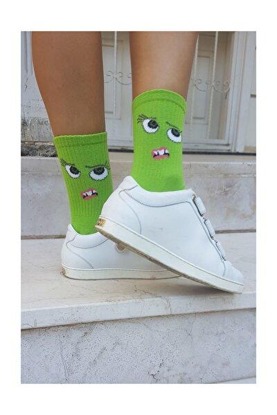 Yüz Desenli Soket Çorap