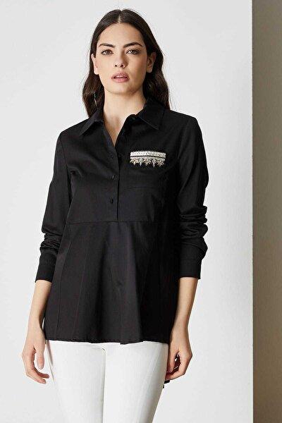 Kadın Siyah Asimetrik Kesim Cep Detaylı Gömlek