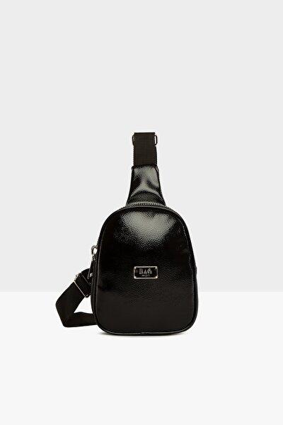 Siyah Kadın Kalın Çift Fermuarlı Mini Çapraz Çanta M000004159