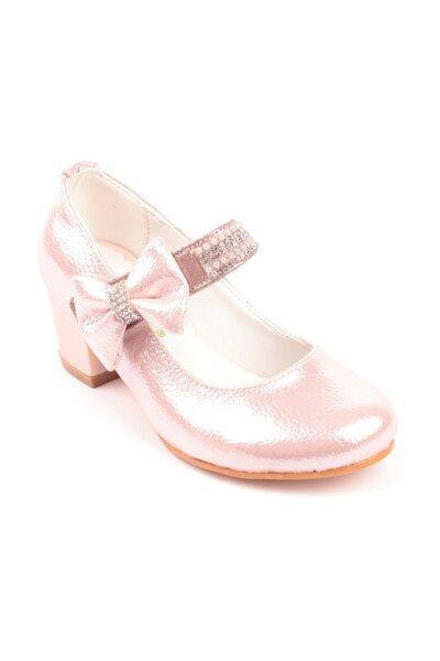 Kız Çocuk Pembe Taş Işlemeli Topuklu Ayakkabı