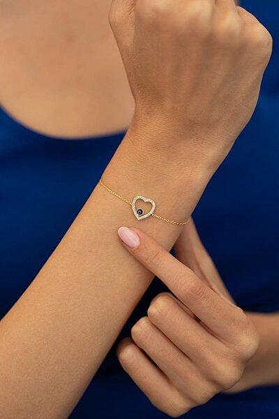 Kalp Ve Nazarlık Model Altın Kaplama Gümüş Italyan Bileklik