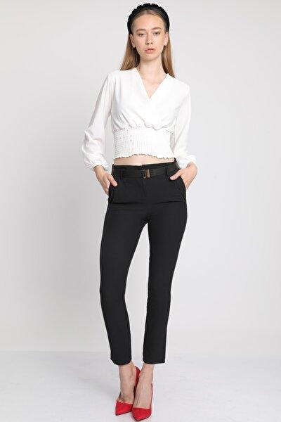 Kadın Siyah Cepli Kemerli Kumaş Pantolon Mdt3610