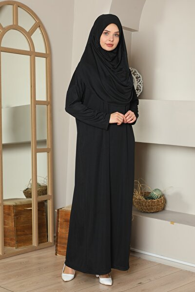 Kolay Giyilebilen Tek Parça Namaz Elbisesi Siyah Büyük Beden