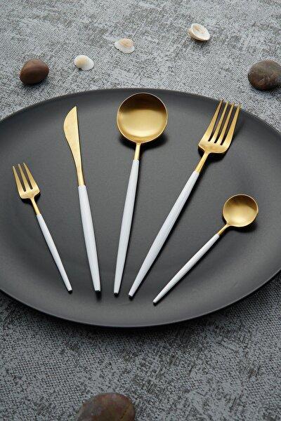 Beyaz Bellia Gold Paslanmaz Çelik 30 Parça Çatal Kaşık Bıçak Takımı
