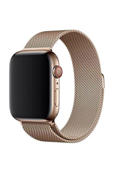 Apple Watch 38 Mm Çelik Kayış Hasır Örme Kordon Milano Gold