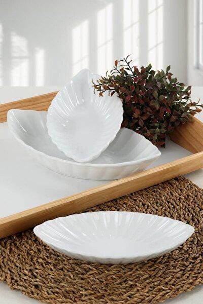 Beyaz Midye Kayık 20-25-30 Cm 3 Adet
