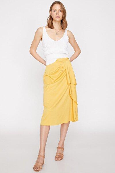 Kadın Sarı Desenli Etek 9YAK78216CW