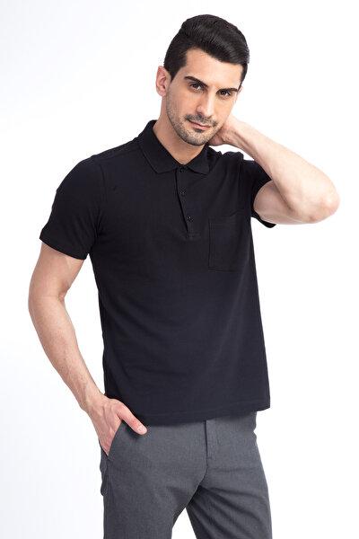 Erkek Siyah Polo Yaka T-Shirt - 44146