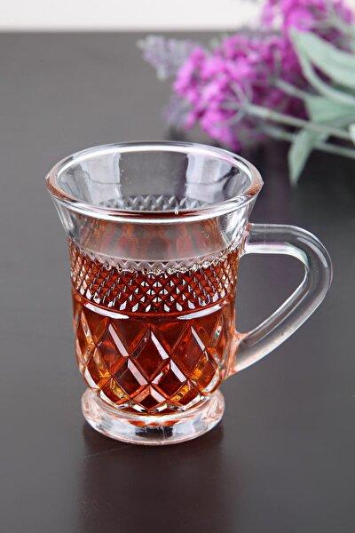 Kristal Cam 6 Adet Kulplu Çay Bardağı-Kupa