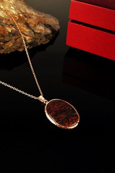 Kadın Jasper Taşı Rose Altın Kaplama Kolye KRB316