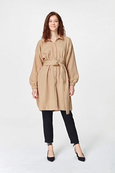 Kadın Bej Jakar Desenli Kuşaklı Tunik Elbise 19YGMZL1014004