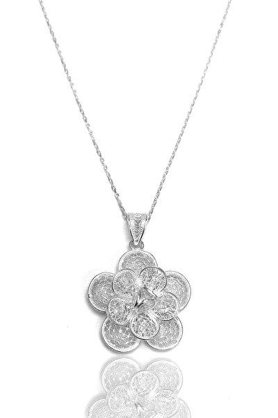 Kadın Çiçek Model Telkari Gümüş Kolye 2020079