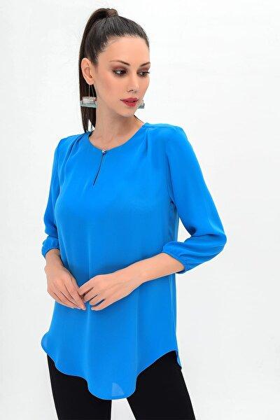 Kadın Sax Yaka Detay Bluz 19L6604